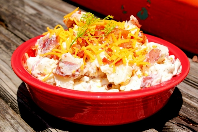 Loaded Baked Potato Salad. Great for BBQ's and easy to make! Everything you love about a baked potato in a cool salad! Yum! Small Town Girl Blog