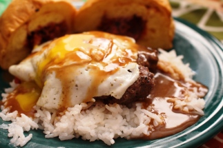 Loco Moco. A local Hawaiian favorite. Rice, beef patty, fried egg, and gravy! Small Town Girl Blog