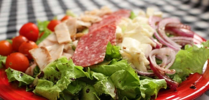 Chop Salad recipe with homemade dressing. Easy, fresh, delicious! Great dinner choice for a hot day! Small Town Girl Blog
