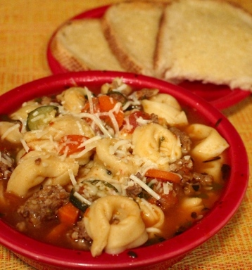 Italian Stew. Easy and delicious! Great comfort food for cold rainy days! This is the best way to have tortellini! Super Yum!! Small Town Girl Blog