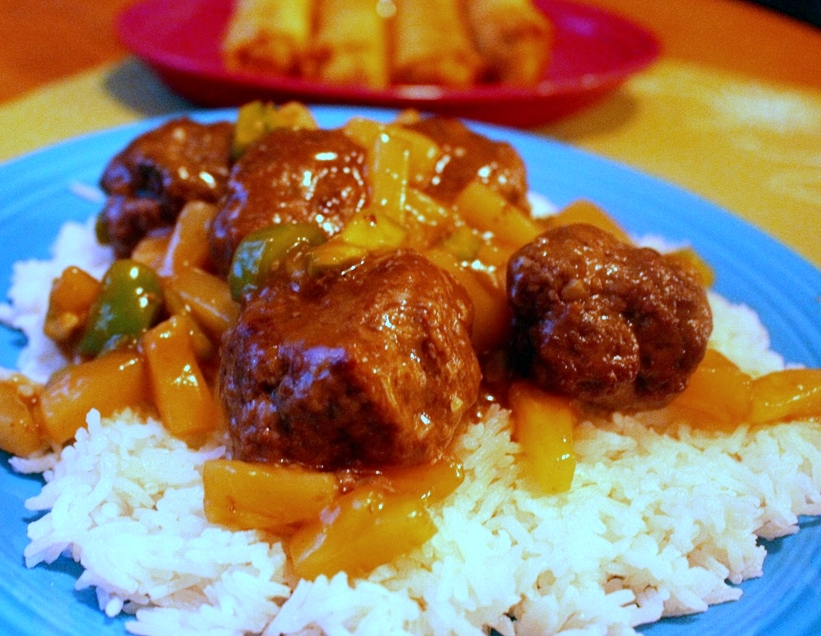 Meatballs. Sweet and sour goodness with pineapple and green peppers ...