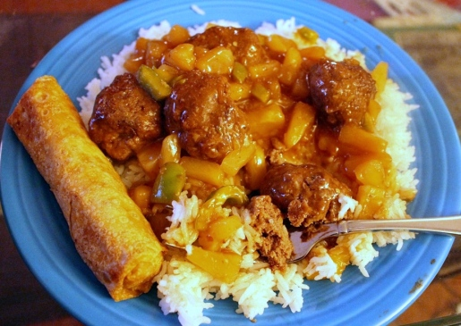 Waikiki Meatballs. Sweet and sour goodness with pineapple and green peppers. Serve over rice for a savory saucy dinner. Onoliscious! Small Town Girl Blog