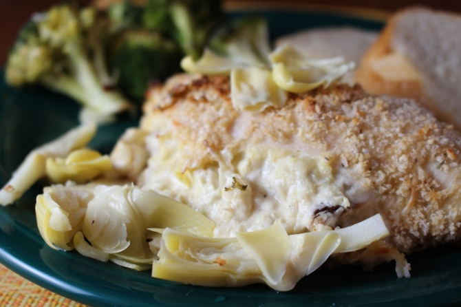 Artichoke and Roasted Garlic Stuffed Chicken. Enough said! Try it, you'll swoon! Small Town Girl Blog.
