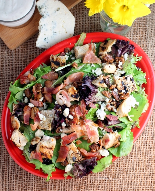 Bacon Blue Chicken Salad. Chicken, bacon, blue cheese, and candied pecans top this green bed to create a unique and intensely flavorful full meal deal. Small Town Girl Blog.