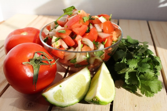 Simple pico de gallo. Great with everything Mexican! Tacos, enchilladas, tostadas, or even just chips! Small Town Girl Blog.