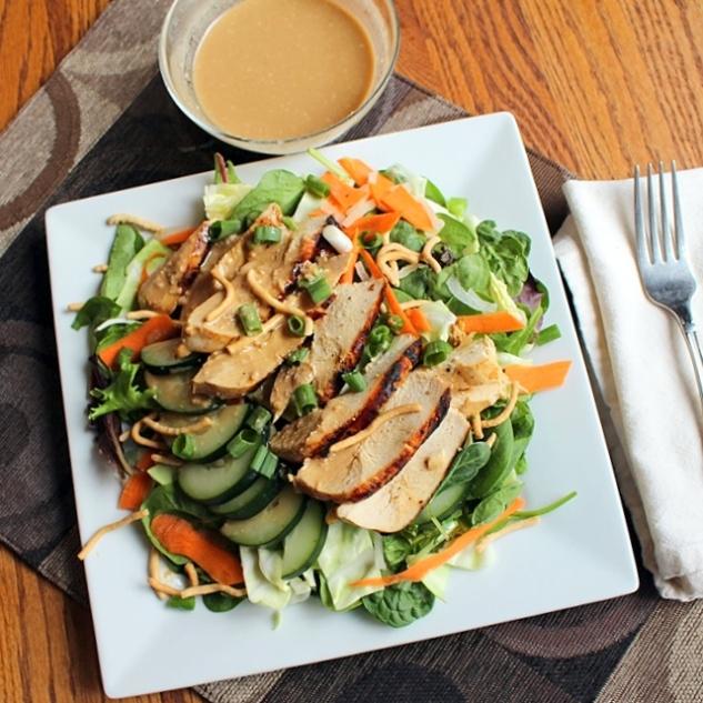 Asian Chicken Salad with Sesame Garlic Dressing. Small Town Girl Blog.