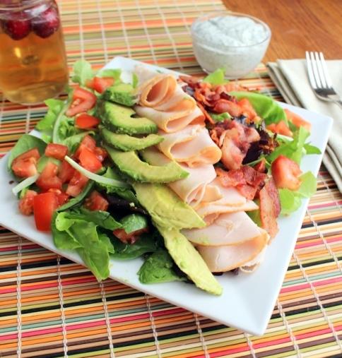 Turkey Bacon Avocado Salad with Garlic Dill Dressing. Small Town Girl Blog.