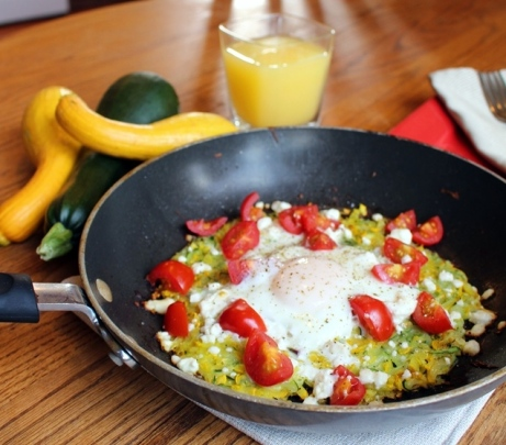 Summer Squash Breakfast Hash. A delicious and healthy way to enjoy your squash in the morning! Small Town Girl Blog.